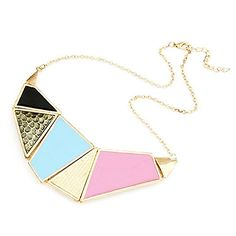 Beautiful (Multicolor Geometric Pendant) Gold Alloy Torque(1 Pc) – USD $ 5.99
