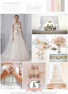 Hello dream wedding! Gorgeous Rose, Champagne & Silver Wedding Inspiration Board by @Rose Murphy