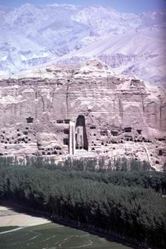 Buddha Statue in Bamiyan, Afghanistan. In 2001 the Taliban used dynamite to destroy the statues.