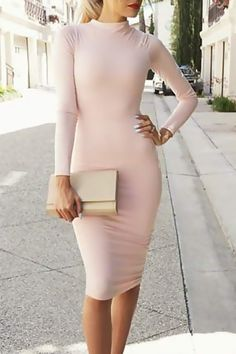 Beautiful simple Pink Long Sleeve Bodycon Dress  #fashion #style