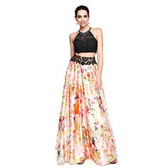 TS Couture® Formal Evening Dress - Two Pieces Color Block A-line Jewel Floor-length Lace Stretch Chiffon with Beading - USD $ 62.99