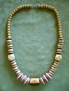 Vintage Necklace Wood Beads Natural Color by IshiVintageHandmade, $14.50