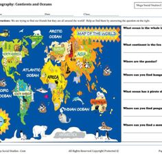 Continents and Oceans – Map for Kids #geography