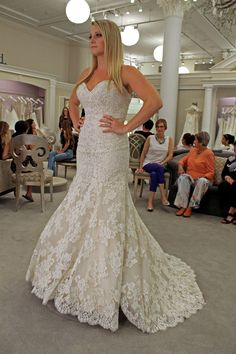 Season 14 Featured Dress: Pnina Tornai. Style #4316. Strapless sweetheart with rushing, trumpet bottom and embellishment. $6,600.
