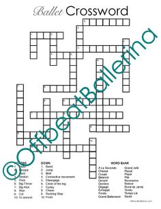 Help ballet students learn their terminology! Ballet Crossword Puzzle by OffbeatBallerina on Etsy, $1.00