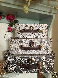 Vintage Black & White Suitcase Set of 3