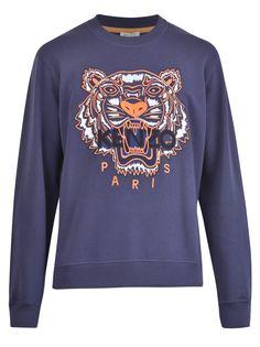 Kenzo Embroidered Tiger Sweatshirt In Blue Tiger Clothing, Kenzo Clothing, Thrasher Sweatshirt, Tiger Logo, Still I Rise, Blue Tigers, Embroidered Sweatshirts, Brown Fashion, Graphic Sweatshirt