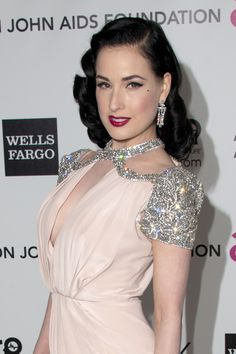 Dita Von Teese. I love how committed she is to the old hollywood/pinup style.
