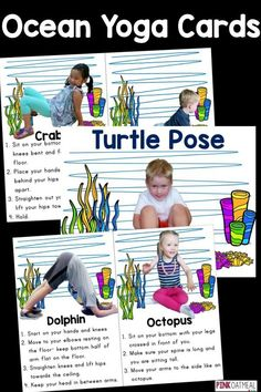 Ocean yoga is perfect for kids yoga. The yoga poses are all related to the ocean! Perfect for an ocean unit or ocean lover. Super cute too! Ocean Activities, Movement Activities, Physical Activities, Physical Education, Preschool Activities, Yoga For Kids, Exercise For Kids, Formation Montessori, Preschool Yoga