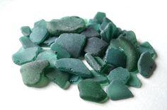 Greenish blue Sea Glass Dark Teal Beach Glass by TaitallasSeaShore