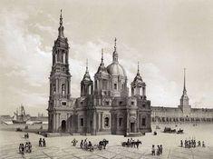 Исаакиевский собор. Проект А. Ринальди. Литография по рисунку Монферрана. 1845 г.