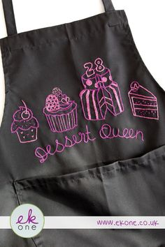 EKone Embroidered Apron - Dessert Queen by EKoneUK on Etsy