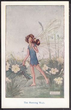 CONSTANCE SYMONDS THE MORNING WALK FAIRY BEE & GRASSHOPPER ART DRAWN CARD, £15.00	  Buy it now