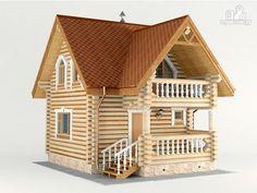 Фото 6: проект дом-баня 6х6 м из оцилиндрованного бревна 260 мм