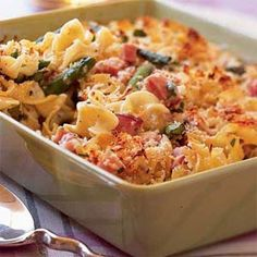 Asparagus and Ham Casserole - I made this with prosciutto instead of ham. This was GREAT! Very light - I used whole wheat rigatoni pasta, whole wheat flour, whole grain bread, and skim milk. I doubled the recipe and there were NO leftovers. Will make again!