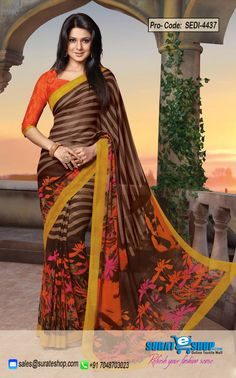 You Will Be Confident To Make A Strong Fashion Statement With This Brown Faux Georgette Saree. The Incredible Dress Creates A Dramatic Canvas With Superb Block Print Work. Paired With A Contrast Coral Raw Silk Blouse  Visite: http://surateshop.com/product-details.php?cid=2_26_38&pid=6715&mid=0