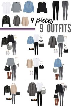 9 pieces x 9 outfits. Just a sampling of the hundreds of outfits you can make from the Minimalist Wardrobe Challenge capsule wardrobe! #wardrobebasics2017
