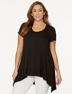 It's not just the flattering, asymmetric cut and luxurious feel that make this draped top by Lysse a must-have; it's the hidden tank inside that smoothes, sleeks and slims with Lysse's revolutionary tummy control!  Short sleeves and a scoop neckline complete the look. lanebryant.com
