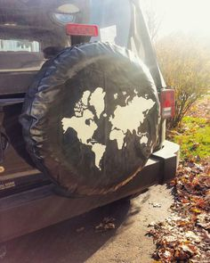 Jeep tire cover. Map of the world