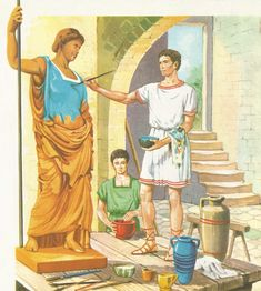 The workshop of a Roman sculptor in the early days of the Republic.  The artist is engaged in painting a terracotta statue.