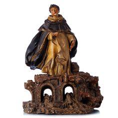 São Gonçalo de Amarante. Escultura portuguesa em terracota, séc.XVIII, representando São Gonçalo sobre ponte, decoração polícroma. Dim.:39cm.
