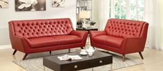 """Leila Sofa CM6035RD-SFUltra stylish featuring a button tufted design with a slightly reclined back support, this sofa set is both contemporary and functional.• Contemporary Style • Flared Armrests • Button Tufted Design• Bonded Leather MatchDIMENSIONS:SOFA [CM6035RD-SF]80""""L X 38 1/2""""W X 40 1/4""""H"""