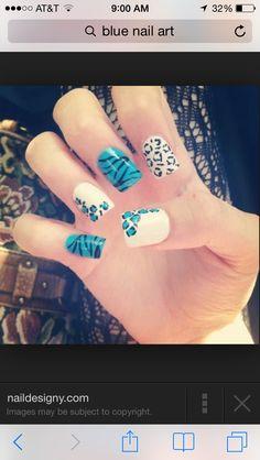 Leopard and Zebra blue nails  beautiful