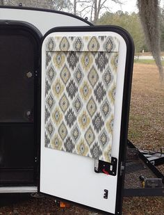 Insulated Camper Shade up to - Fabrics by Robert Allen, Waverly & Camper Windows, Camper Curtains, Window Curtains, Cargo Trailer Camper Conversion, Cargo Trailers, Door Shades, Rv Storage, Grey Yellow, Window Coverings
