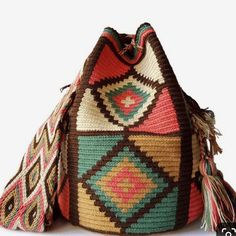 This beautiful, one-of-a-kind was carefully made using a double thread technique for the body. It has a traditional double thread strap and drawstring. The colors and patterns of this was inspired by the vivid colors and shapes tha Tapestry Crochet Patterns, Bead Loom Patterns, Crotchet Bags, Knitted Bags, Mochila Crochet, Tribal Bags, Tapestry Bag, Crochet Woman, Crochet Accessories
