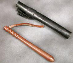 British Bobby Police Original Vintage Truncheon & Leather Carry Case: