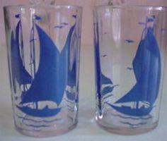 swanky swigs - Sail boat ships in blue