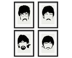 The Beatles (Sgt Peppers era) - Minimalist Heads (X4) Digital Art Print, Wall Poster Graphic Limited Edition of 250