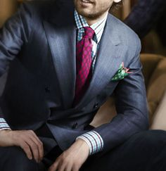 Kiton, finest suit maker in the world. BTW fine example of pattern mixing. More on how to mix patterns read here: http://www.moderngentlemanmagazine.com/mens-style-suits-pattern-mixin/