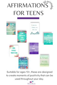 Daily affirmations for teenagers is a downloadable pack that you can use again and again. You can view all the affirmations beforehand, these are simple words of positivity that your teen can use every day to boost motivation, inmprove concentration and give them that boost of positivity that all our teens need, especially at the moment. Download, print out and keep. This pack also includes blank notes for space for creating new affirmations. #affirmations Affirmations For Kids, Mindful Parenting, Simple Words, Journal Prompts, Positive Mindset, Growth Mindset, Motivational Quotes, How To Remove, Mindfulness
