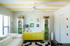 kelly green, yellow and striped nursery. you can get the idea of the crisp white with the pops of yellow, navy and kelly green. Striped Nursery, Nursery Neutral, Teen Decor, Baby Decor, Yellow Dresser, Colored Dresser, Striped Ceiling, Nursery Inspiration, Elegant Homes