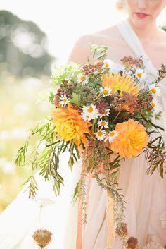 Beautiful Wildflower Bouquet. Yellow, green, and DAISYS.