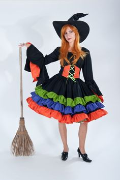 Womens Witch Costume Halloween Dress Ruffles Flared by MGDclothing
