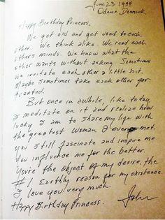 Johnny Cash's Birthday letter to June Carter.