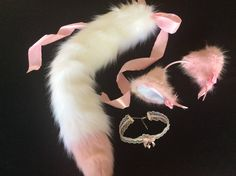 "Beautiful Kitten Play Set Luxury 26 "" Inch Blossom Kitten Play Faux Fur Cute Kitten Play Tail, Collar & Kitten Play Ears. by NaughtyPleasures on Etsy"