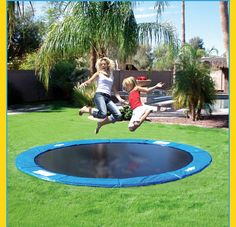 Build your children's trampoline into your backyard! Maybe in the volleyball court?