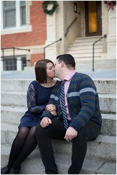 Downtown Norfolk, VA Engagement Session | Navy Blue & Pink Couple | Virginia Wedding Photographers | Rowlands Photography