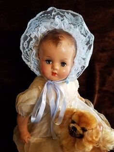 """Antique Vintage Beautiful Large 21"""" Composition Mama Baby Doll  WORKING CRYER!! 