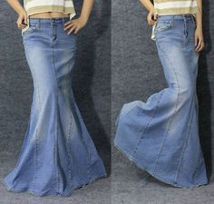 Long Denim Skirts mermaid or fishtail silhouette Modest Dresses, Modest Outfits, Skirt Outfits, Modest Fashion, Dress Skirt, Boho Fashion, Cool Outfits, Fashion Outfits, Denim Maxi