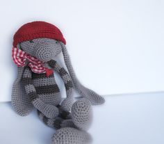 Amigurumi Striped Bunny in Grey and Taupe