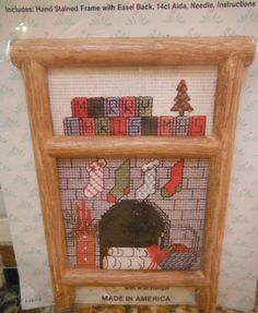 Fireplace Country Traditional Cross Stitch Kit 034509 Easel Back & Wall Hanger