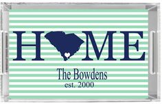 Monogrammed Lucite Tray Personalized Acrylic Tray by Pink Wasabi Ink, $68.00 Home Sweet Home