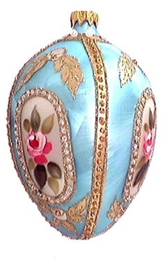Museum Collection Fabergé St. Petersburg Rose Egg Glass Ornament-Large 5 x 3.5 x 3.5 inches Z