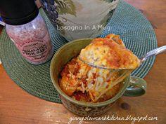 Ginny's Low Carb Kitchen: LASAGNA IN A MUG, LC, GF