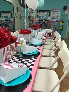 Pinklady Events 's Birthday / Sock Hop - Photo Gallery at Catch My Party 50s Theme Parties, 13th Birthday Parties, Birthday Party Themes, Grease Themed Parties, 1950s Theme Party, Beatles Party, Fifties Party, Retro Party, Party Fiesta