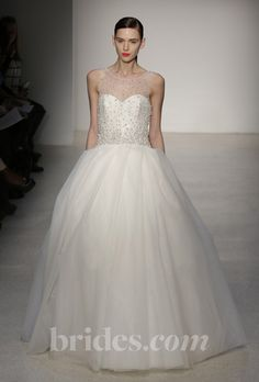 Illusion top ball gown with beading. Amsale Fall 2013.